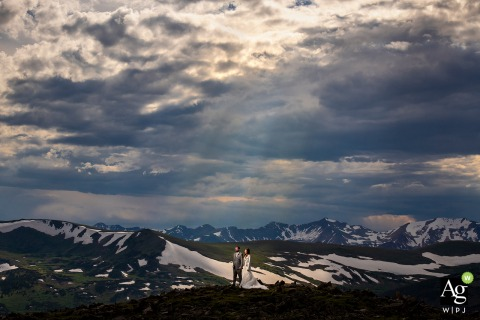 Rocky Mountain National Park (Estes Park, CO) wedding photos - Bride and groom sunset photo