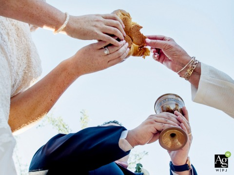Arizona wedding photo from the Desert Botanical Garden | communion cup and bread during the outdoor ceremony