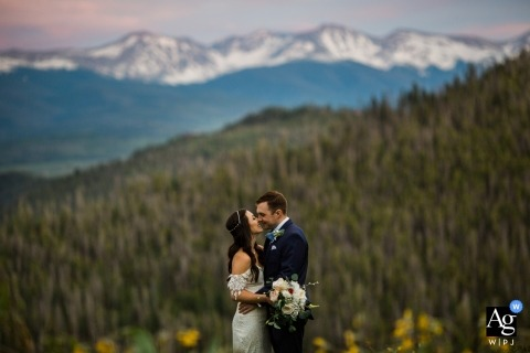Colorado Post Ceremony Portraits of Bride and Groom | Sunset portraits of couple