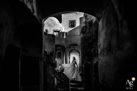 Santorini, Greece Wedding Photographer: Like a fairytale. Bride/Groom Portrait.