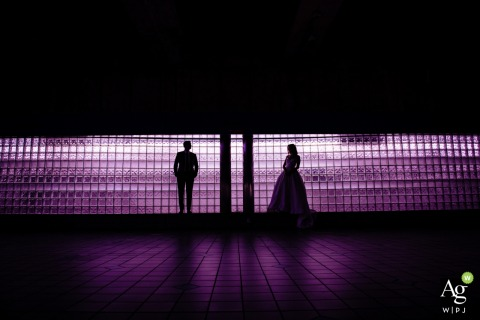 Baltimore Metro Station wedding photographer: This image was taken in the Baltimore Metro Station with a lighted gel