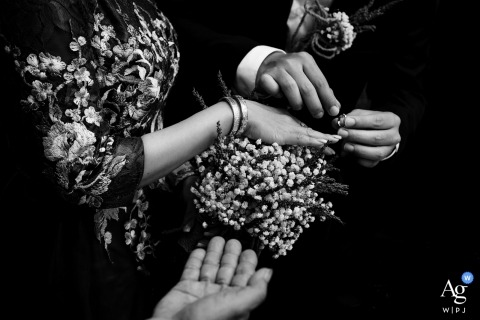 Tra Vinh City - The Vow with Hands and Rings - Detail Photo on Wedding Day