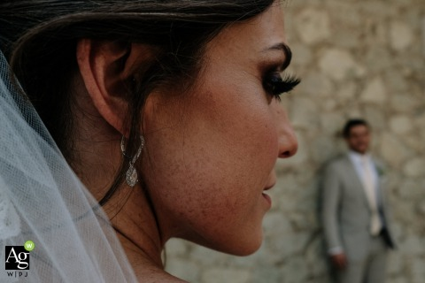 Jardin Etnobotanico, Oaxaca City, Oaxaca, Mexico Bride and groom photo on wedding day