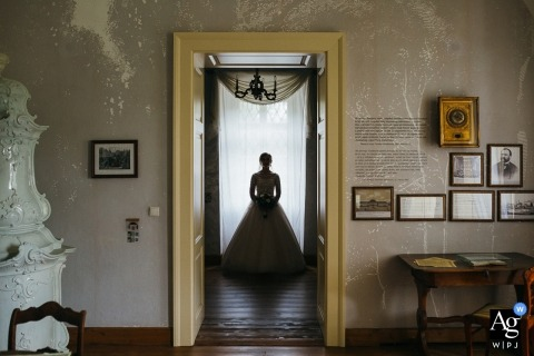 Dolna Strehova, Slovakia Bride´s portrait framed in doorway
