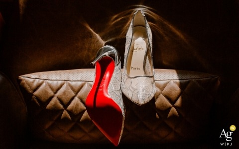 Hotel at le Saut de la Bergère en Corèze, France fine art detail photography of the wedding shoes