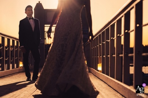San Diego, Ca Groom watching dancing bride during sunset portrait shoot