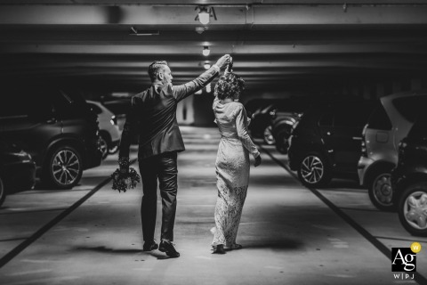 Baden-Baden Couple dancing in the parking haus on their wedding day