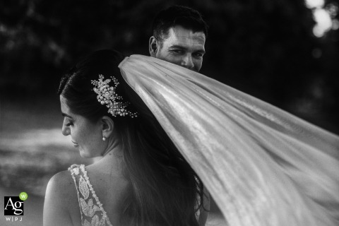 villa Trebazia - Rome Italy / reception venue image | Portrait of the bride and the groom while walking on the ancient via Appia