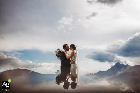 Villa I Cedri, Tuscany Portrait Session in the clouds | Wedding day photography of the couple