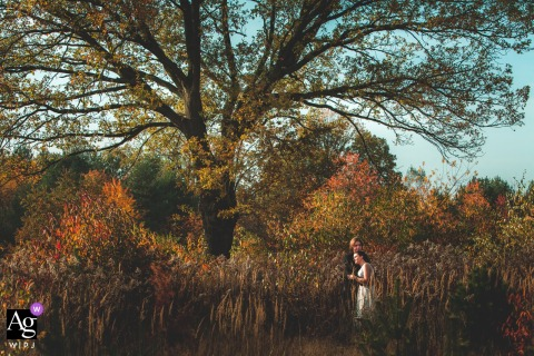 Grotniki, Poland Wedding Couple Portrait | The couple by the old oak.