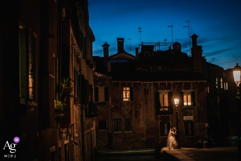 Venice, Italy wedding portrait of the couple | Venice at night
