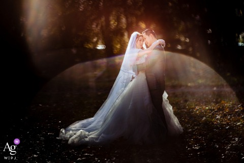 Germany Darmstad sunlight creative portrait of the bride and groom
