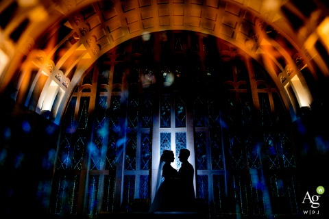 Germany wedding photographer at Stuttgart | Silhouette portrait of the bride and groom with a light