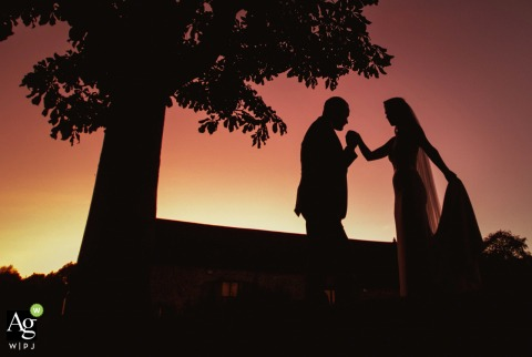 Priston Mill, Bath wedding venue photography | Sunset kiss portrait of the bride and groom under a silhouetted tree.