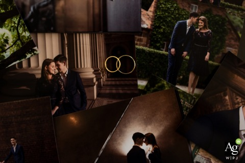 Melbourne Wedding rings detail photography | Collage of engagement portrait printed pictures as the background