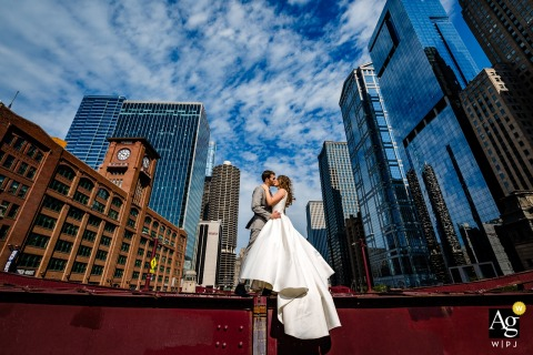 Lasalle Bridge Chicago bride and groom portraits