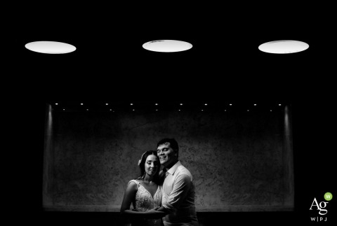 Brazil Reception Portrait of the Bride and Groom | Black and white wedding day photography indoors