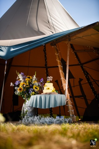 Pleinmont, Guernsey wedding venue photo | Cake at marquee reception under the tent