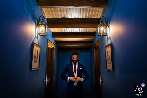 Cadiz (Spain) blue and symmetrical artistic groom portrait on wedding day
