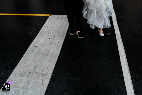 Downtown Toronto street photo - The bride and the wedding planner walking cross the street