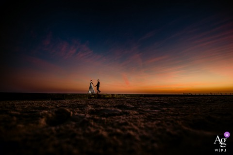 Higgs Beach, Key West, Florida wedding portrait | One of the biggest draws for couples is the sunset in Key West. I set up flash, waited till afterglow