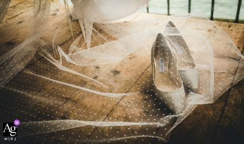 Veneto bride's home wedding detail image of her Shoes