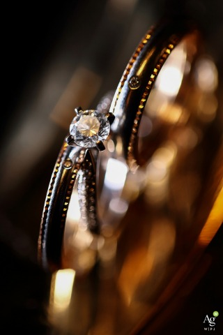 Guangdong, China fine art wedding detail photography picture of the golden, warm rings