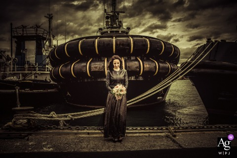 La Spezia Bride portrait at the docks with a large tug boat