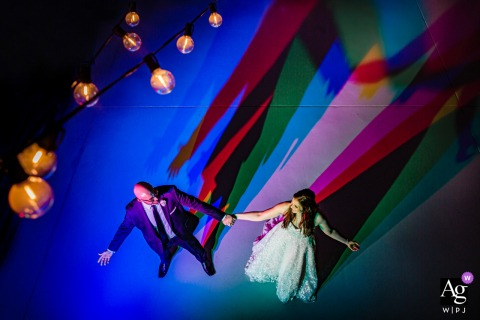 Wedding portrait at artifact events, chicago of the couple and colorful shadows