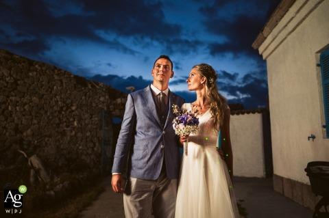 Ljubljana, Slovenia creative wedding day portrait of the Bride, groom and the sky