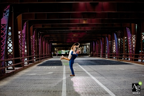 Chicago River, Chicago, Illinois artistic wedding bride and groom portraits under the overpass on the streets