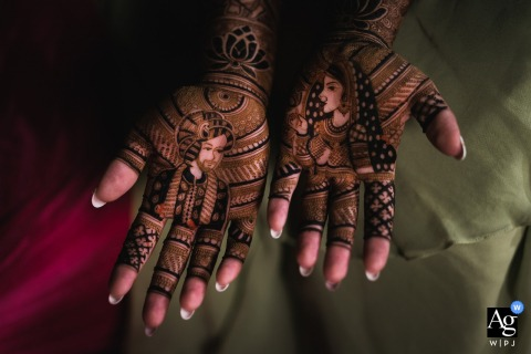 Cotes-d'Armor, Brittany photo of wedding henna art from India on the Hands of the bride