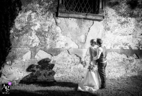 Villa Godi Piovene - Vicenza - Italy portrait of the birde and groom in black and white