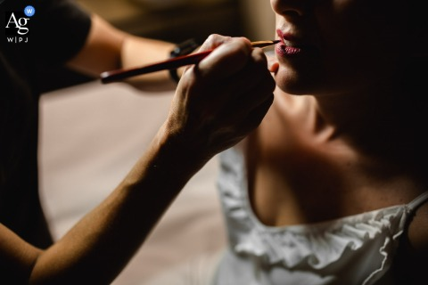 Detail wedding image of Bridal Makeu-up applied at Orta San Giulio, Lake Orta, Hotel Ristorante Giardinetto, Italy