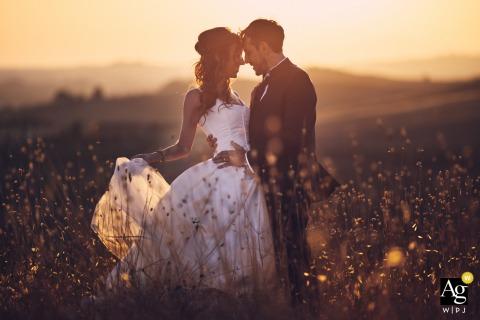 Certaldo, Toskana kreativer Sonnenuntergang Porträt des Paares auf freiem Feld