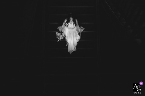 Black and white Bride portrait after the wedding ceremony in Zurich