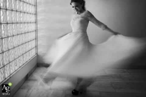 Casa da Noiva, Rio de Janeiro black and white wedding slow-shutter portrait of the bride spinning in her dress