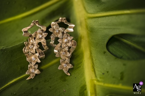 Espaço Galeria Jardim, Rio de Janeiro detail wedding image of the earrings for the bride on a green leaf