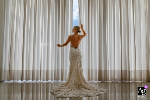 Casa dos Noivos - Feliz - Brazil Bridal wedding portrait amid the curtains
