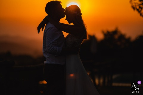 Agriturismo Crealto, Alfiano Natta, Italy silhouette at the Sunset portraits with the bride and groom
