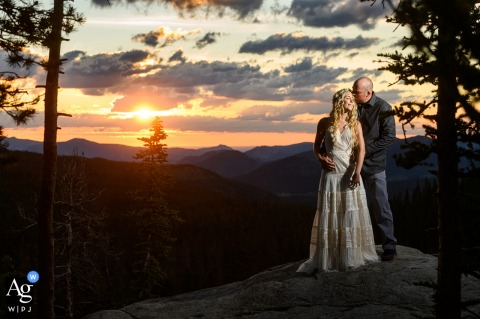 Rocky Mountain National Park, on the way to the ceremony site - A sunrise portrait taken before the ceremony