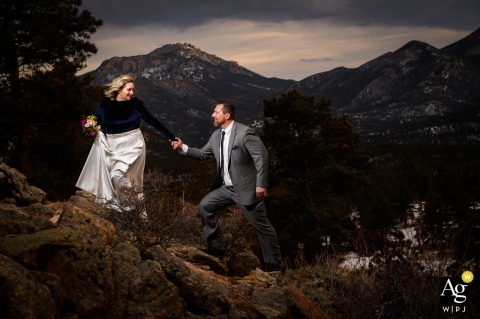 Rocky Mountain National Park couple portraits at a secluded spot in the mountains after the ceremony