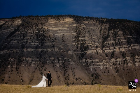 Yellowstone wedding portrait of the couple in their big day in the mountains