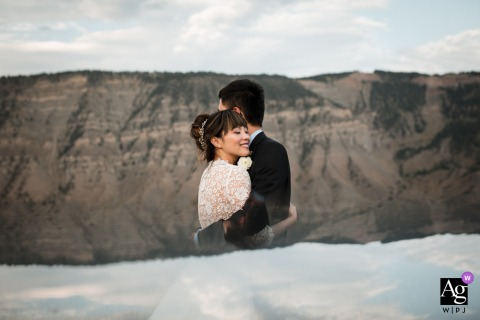 Yellowstone artistic wedding portrait of the bride and groom on wedding day