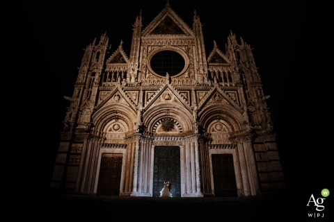 Siena, Duomo of Siena artistic wedding couple portrait from an outdoor night dancing shoot