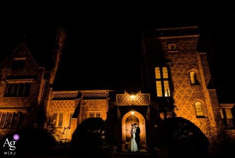 "Aldie Mansionm Doylestown couple portrait by PA wedding photographer	""Epic night photo of bride and groom in front of their venue"""