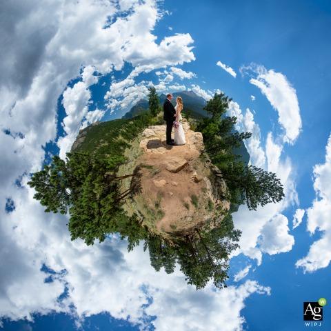 Rocky Mountain National Park, Colorado fine art wedding portrait image using 360 degree views in RMNP during their wedding day adventure
