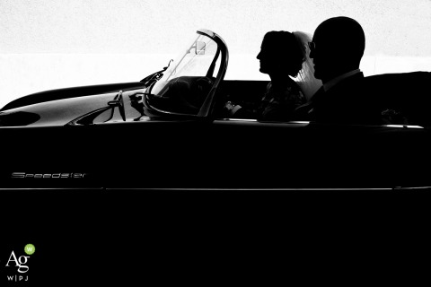 Paceco, Trapani, Italy fine art wedding Backlight photo of the bride in the car with her dad for Sicily wedding