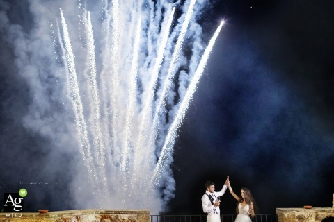 Lanza Castle of Trabia, Palermo, Italy artistic wedding couple Photo of fireworks for wedding at the castle in Sicily