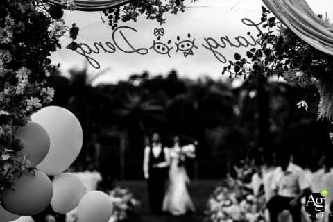 Guangdong fine art wedding detail photography picture from the outdoor Ceremony Location showing The name of the bride and groom